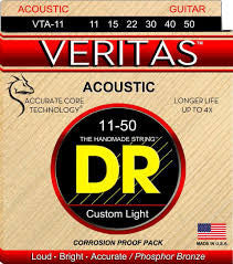 DR Veritas Acoustic Guitar Strings, Custom Light, .011-.050