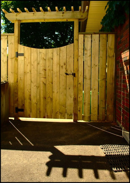 Wooden arbor pergola for garden gate Campbell Fence