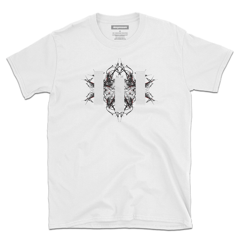 Front of CLUSTERFUNK | Men's/Unisex Super Soft Graphic White T-Shirt | nicepressure™