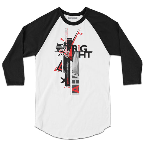 Front of RIGHT RIGHT | ¾ Sleeve Raglan T-Shirt | nicepressure™
