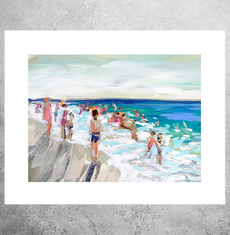 Pastel art print of beach scene