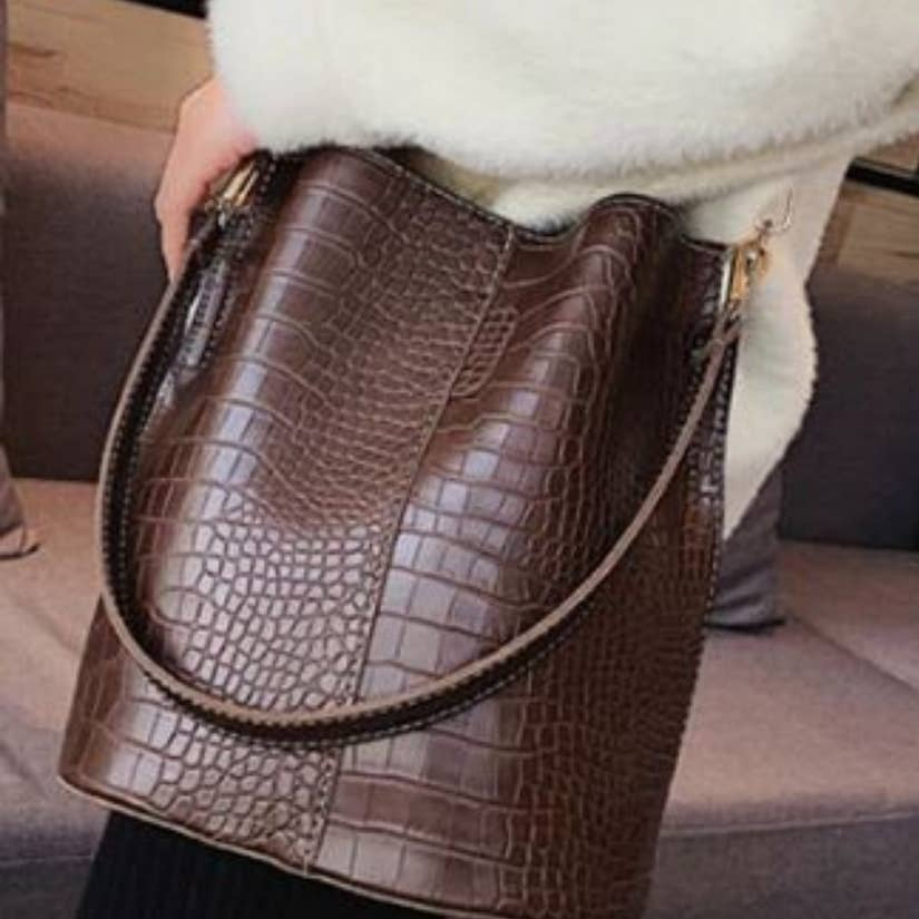 chocolate brown vegan leather shoulder bag