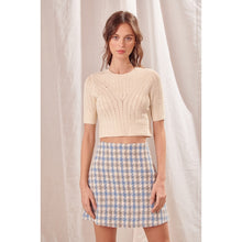 ivory cropped knit top