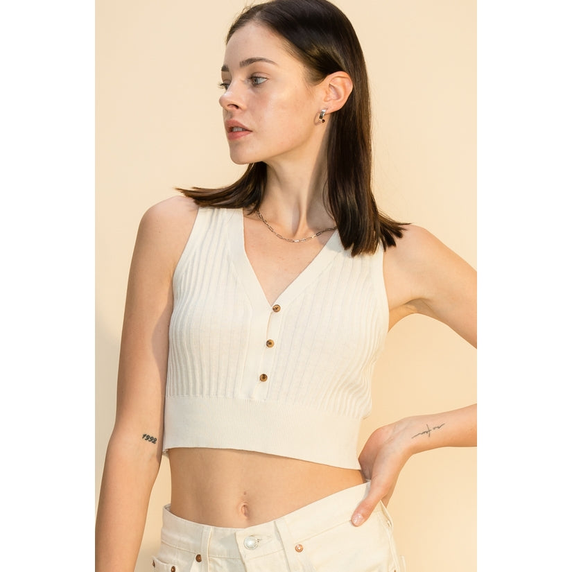 ivory cropped sweater tank top