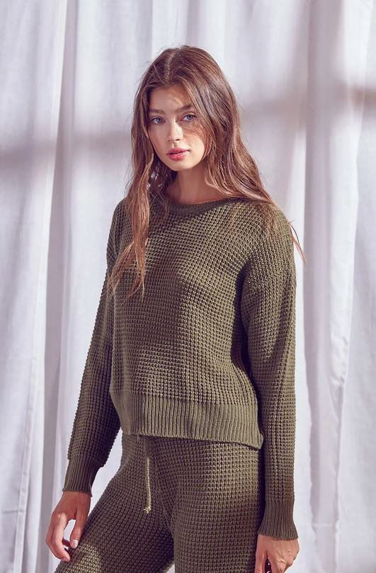 Olive thermal sweater