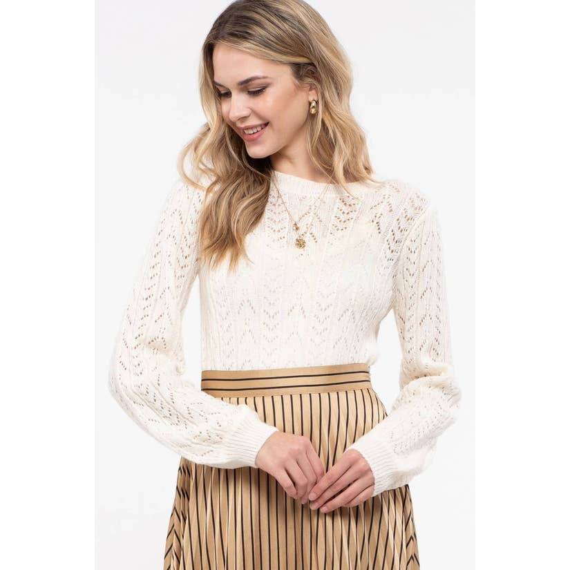 open knit ivory sweater