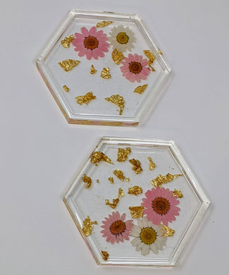 Pink + Gold Floral Hexagon Resin Coasters