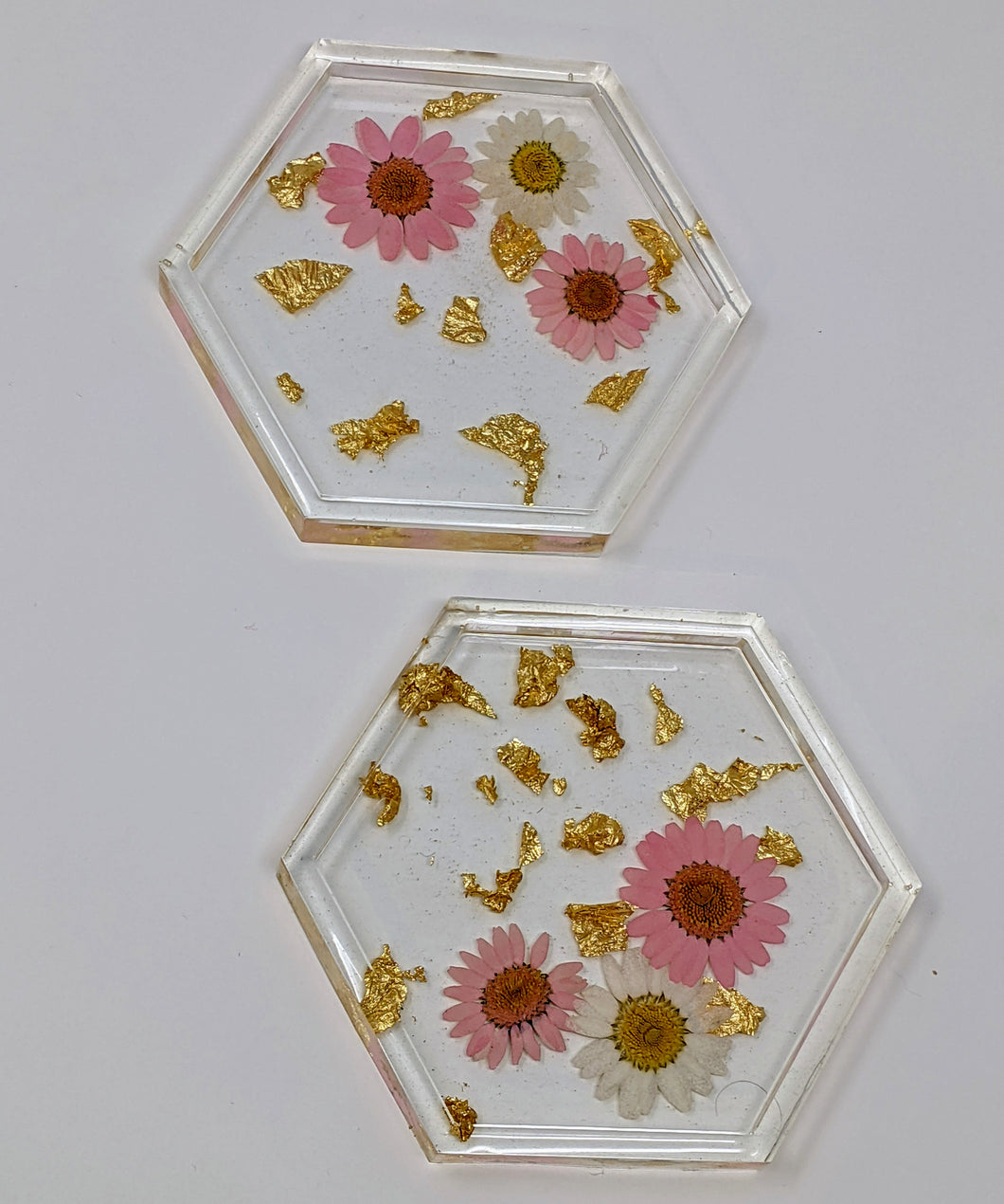Floral Hexagon Resin Coasters