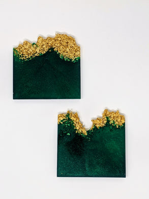 Green + Gold Geode Resin Coasters