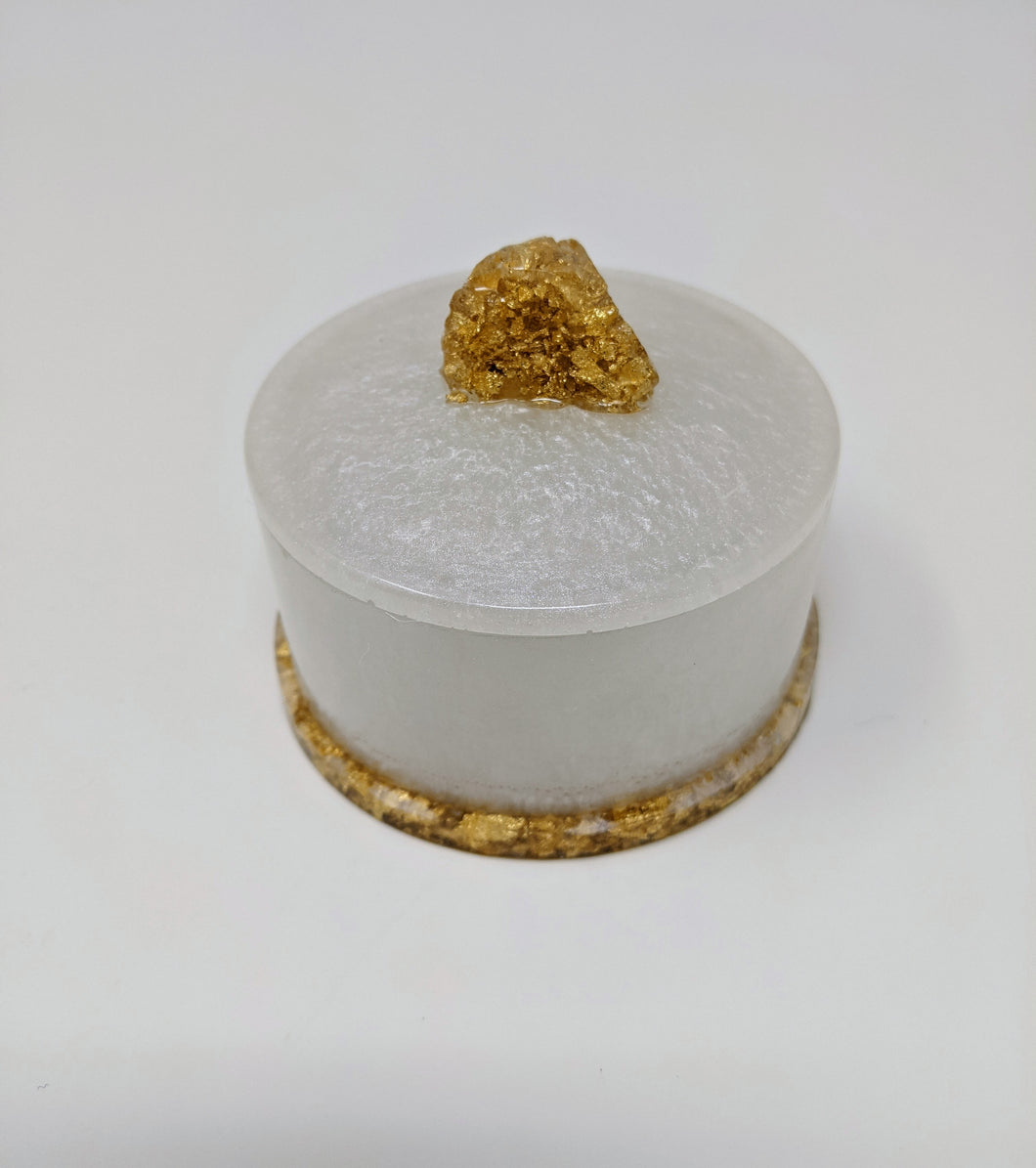 White + Gold Resin Trinket Box