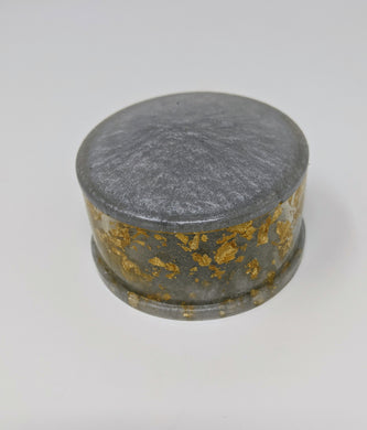 Grey + Gold Resin Trinket Box