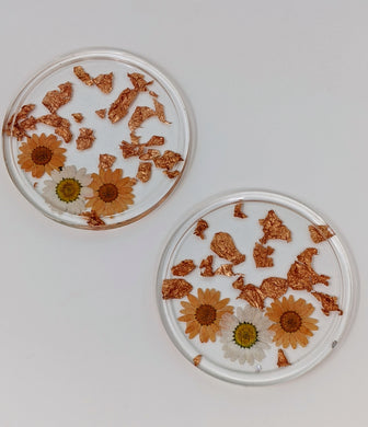 Orange + Copper Floral Round Coasters
