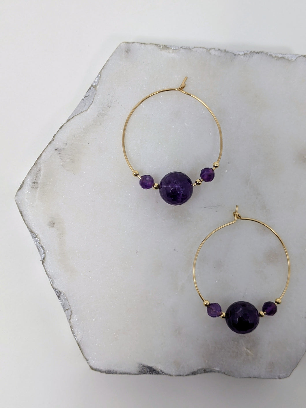 faceted gold fill amethyst hoops
