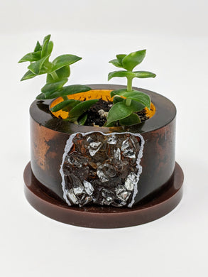 Silver + Brown Geode Planter