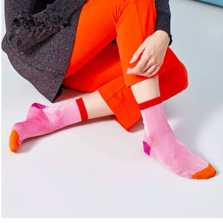 pink color block socks