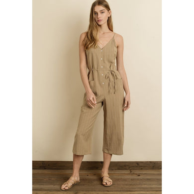 Tan Pin Stripe Jumpsuit