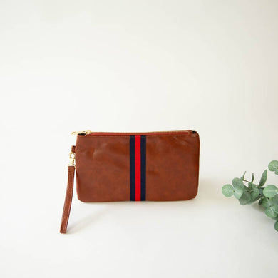 red and navy stripe brown leather clutch