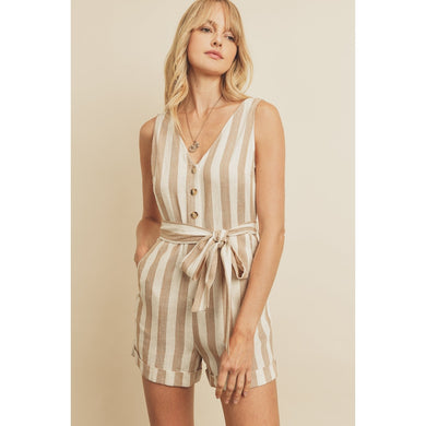 tan and white stripe button front romper