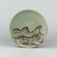 Wave ring dish in blue green color