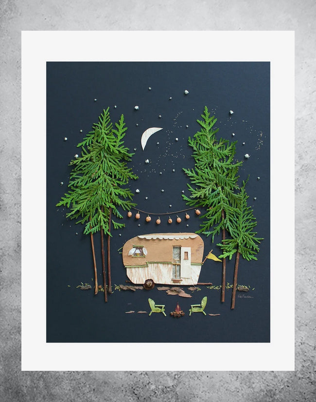 Botanical art print of camper with campfire at night time.