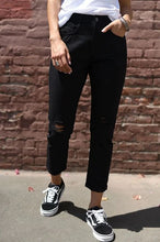 Black distressed girlfriend jeans