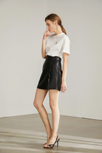 black leather high waisted skirt with zipper