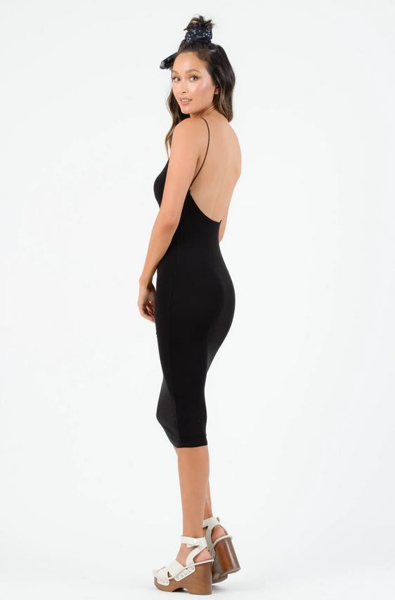Low back black midi dress