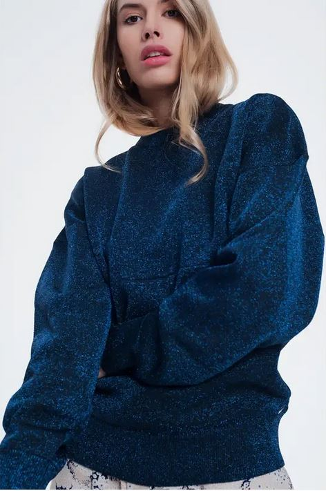 Blue shimmery oversized sweater