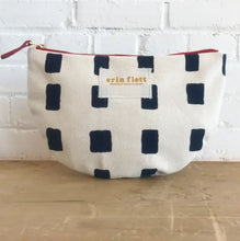 Canvas clutch with blue squares