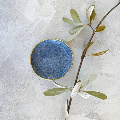 blue porcelain and gold ring dish
