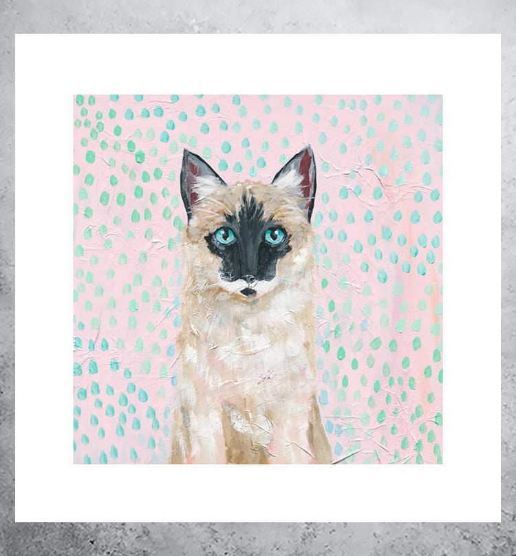 pastel art print of siamese cat with blue eyes