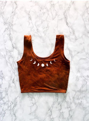 burnt orange crop top with moon phases