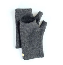 Grey wool fingerless gloves