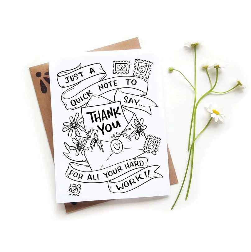 coloring thank you card