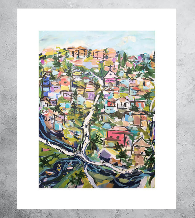 pastel art print of city landscape