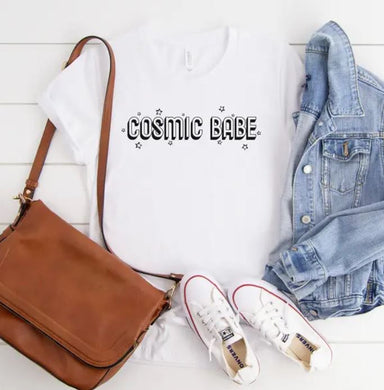 White tee with cosmic babe star design