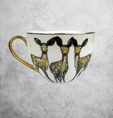 Porcelain deer mug with gold accents