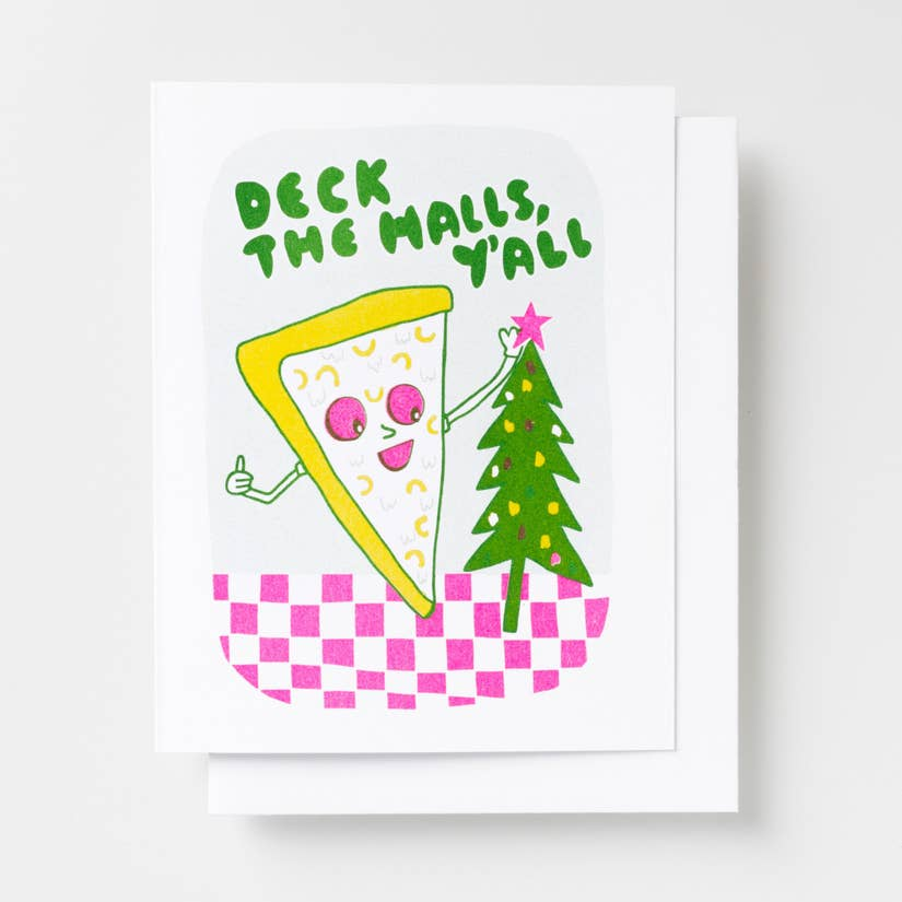 deck the halls pizza card