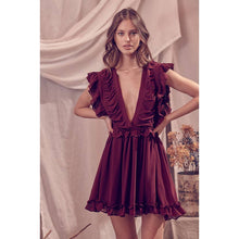 deep v neckl ruffled mini dress