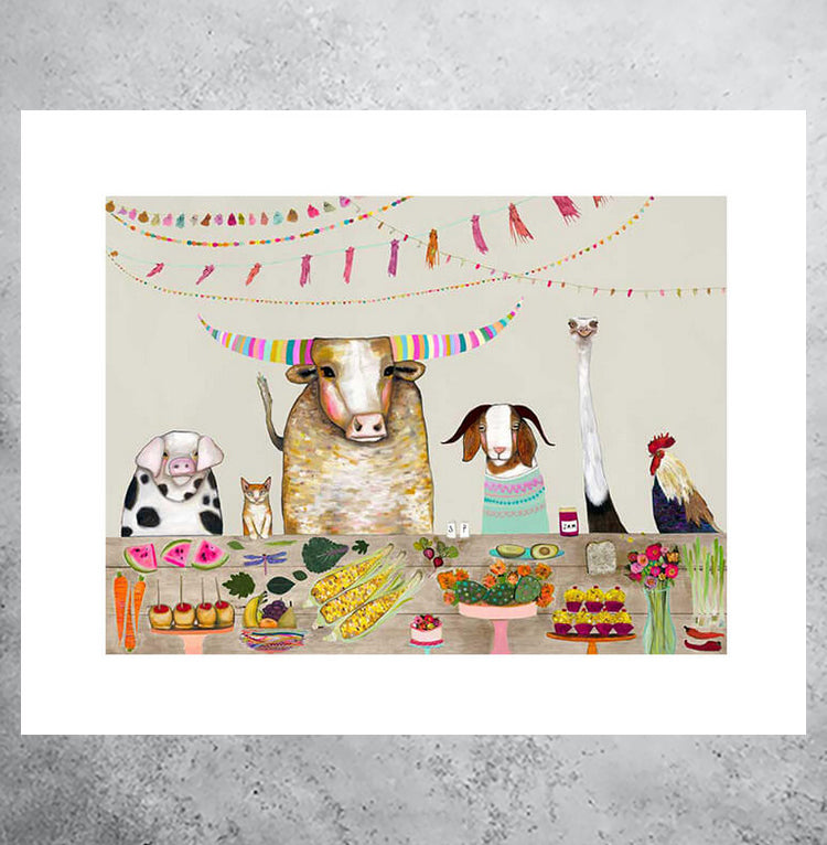 colorful art print of dinner party with farm animals