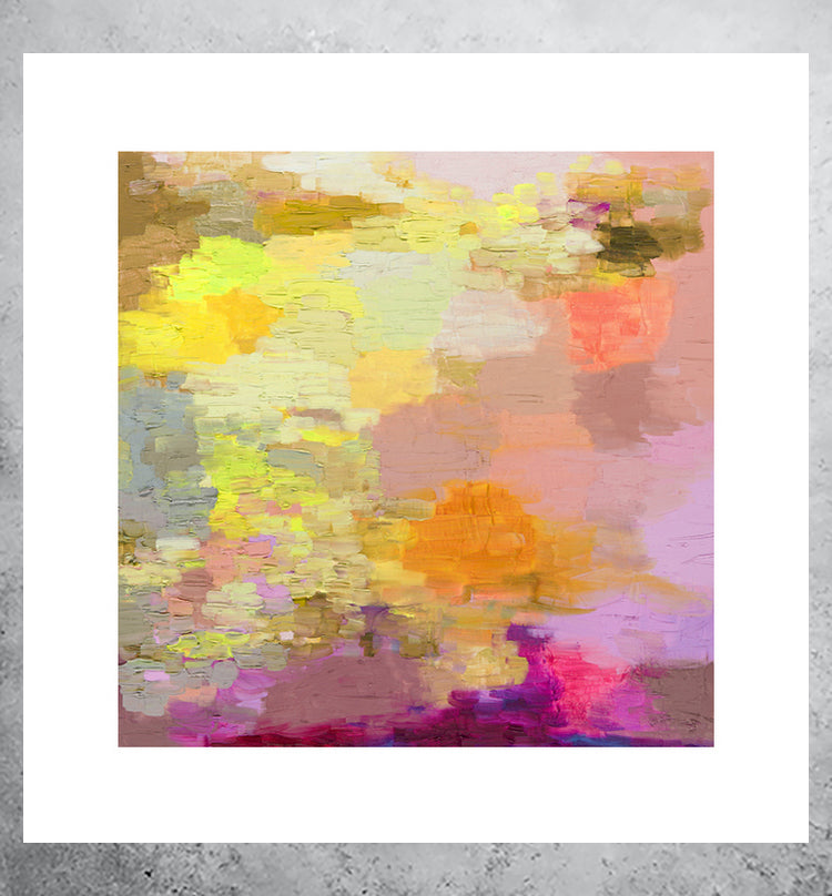 Abstract painting of pink sunset