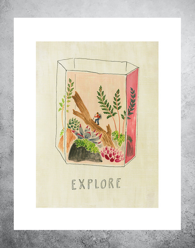 Art print of terranium with hiker