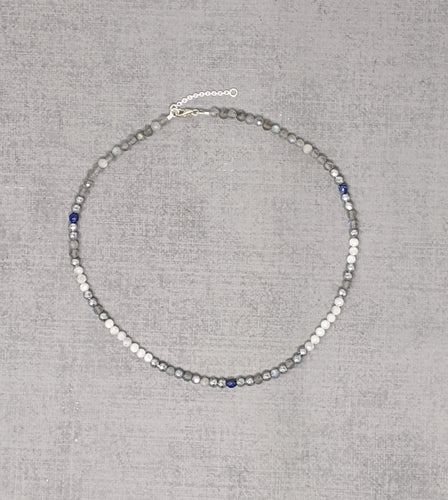Sterling silver necklace with faceted rainbow moonstone labradorite, lapis, and hematite