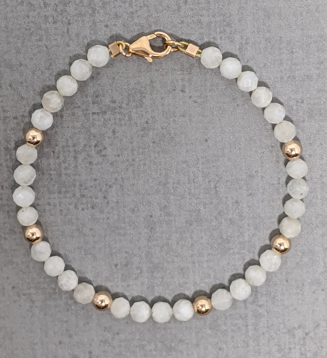 faceted moonstone gold fill bracelet