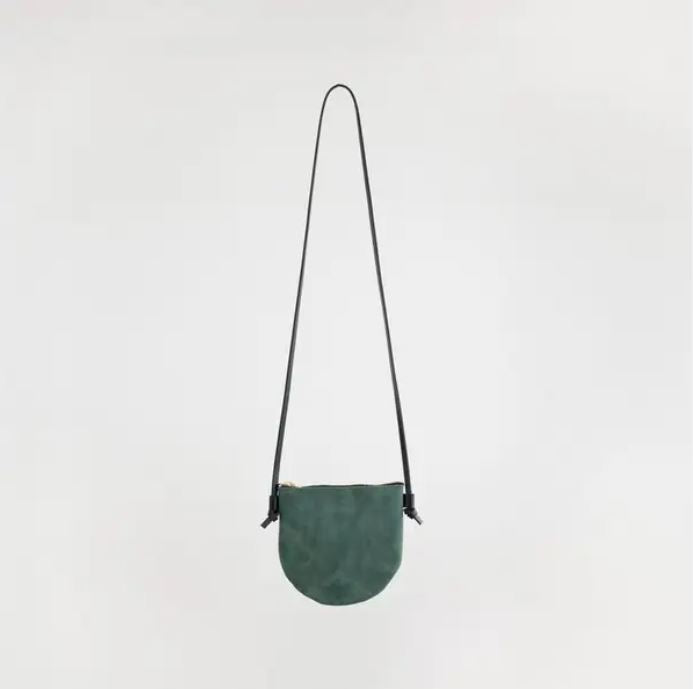 Forest green handmade leather bag