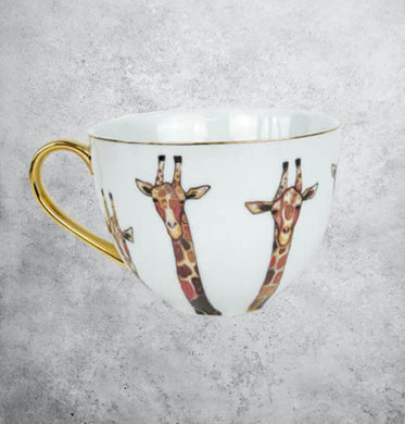 Porcelain giraffe mug with gold accents