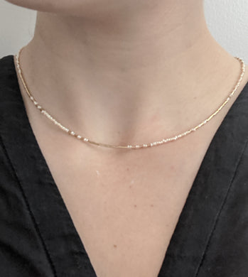 dainty gold fill and freshwater pearl necklace