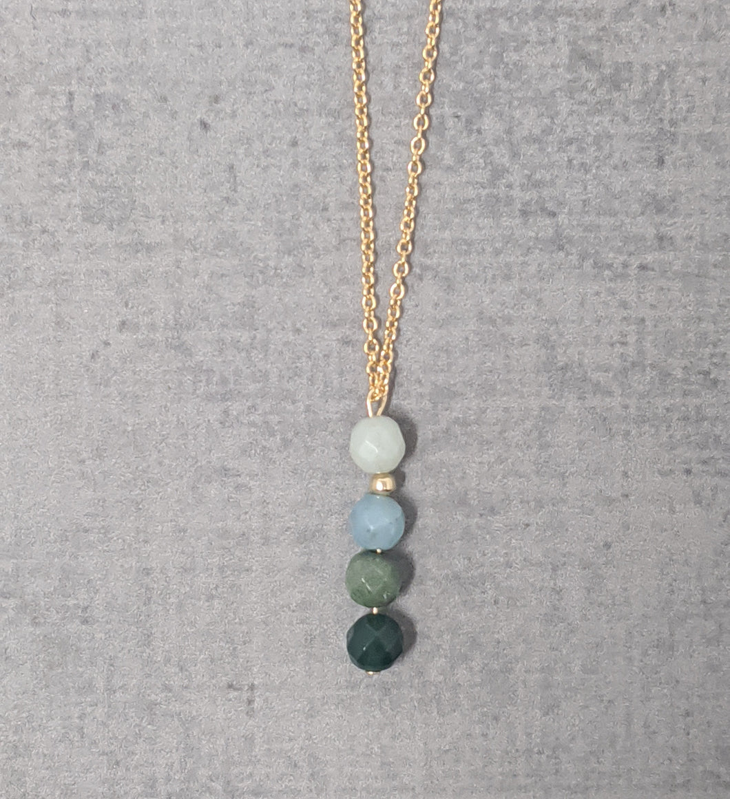 green ombre gold necklace
