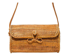 Handwoven purse with bowtie latch