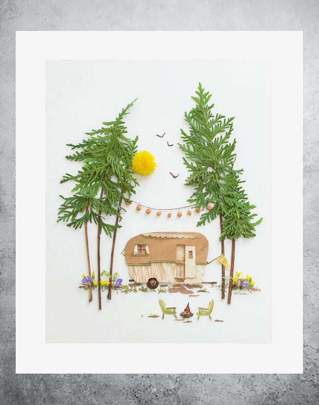 Botanical art print of camper with campfire